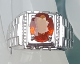 MENS, Untreated Mandarin Spessartie In Silver  with CZ accents