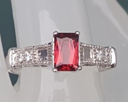 Red Tourmaline In Silver  with CZ accents