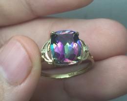 (B5) Brilliant Nat 3.0ct Mystic Topaz & Diamond Ring 10K YG 1.60gr