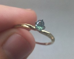 (B5) Certified Nat 0.38ct. Alexandrite Ring 14K YG