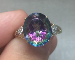(B5) Huge Nat 5.10ct Mystic Topaz & Diamond Ring 10K YG 2.05gr