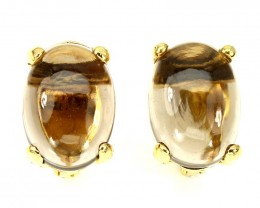 Smoky Quartz Large Gem Earrings Sterling Silver 14kt Yellow Gold