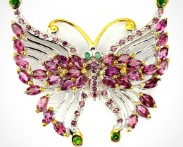 Exquisite Butterfly Brooch Garnet, Chrome Diopside, Emerald gems Sterling S