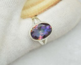 NATURAL UNTREATED MYSTIC QUARTZ RING 925 STERLING SILVER JE396