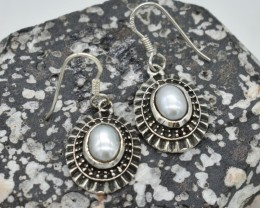 NATURAL UNTREATED PEARL EARRINGS 925 STERLING SILVER JE397