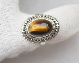 NATURAL UNTREATED TIGER EYE RING 925 STERLING SILVER JE398
