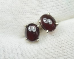 NATURAL UNTREATED GARNET EARRINGS 925 STERLING SILVER JE399
