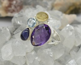 NATURAL UNTREATED MULTI GEMSTONE RING 925 STERLING SILVER JE400