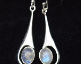 NATURAL UNTREATED RAINBOW MOONSTONE EARRINGS 925 STERLING SILVER JE401