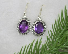 NATURAL UNTREATED AMETHYST EARRINGS 925 STERLING SILVER JE403