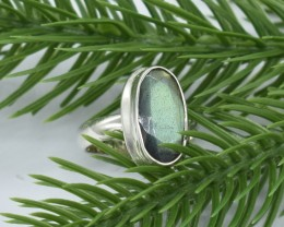 NATURAL UNTREATED LABRADORITE RING 925 STERLING SILVER JE404