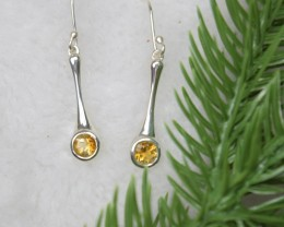 NATURAL UNTREATED CITRINE EARRINGS 925 STERLING SILVER JE405