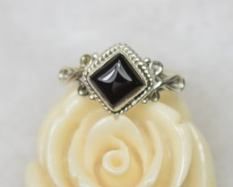 NATURAL UNTREATED BLACK ONYX RING 925 STERLING SILVER JE406