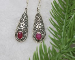 NATURAL RUBY EARRINGS 925 STERLING SILVER JE407 treated stone