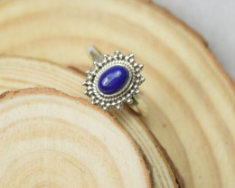 NATURAL UNTREATED LAPIS LAZULI RING 925 STERLING SILVER JE408