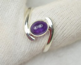 NATURAL UNTREATED AMETHYST RING 925 STERLING SILVER JE410
