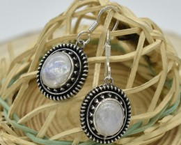 NATURAL UNTREATED RAINBOW MOONSTONE EARRINGS 925 STERLING SILVER JE411