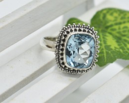NATURAL UNTREATED BLUE TOPAZ RING 925 STERLING SILVER JE412