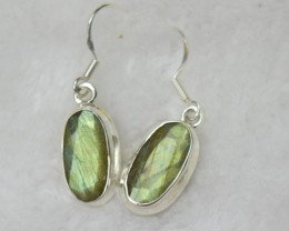NATURAL UNTREATED LABRADPROTE EARRINGS 925 STERLING SILVER JE413