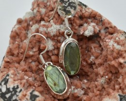 NATURAL UNTREATED LABRADORITE EARRINGS 925 STERLING SILVER JE413