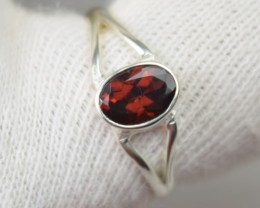 NATURAL UNTREATED GARNET RING 925 STERLING SILVER JE414