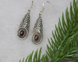 NATURAL UNTREATED GARNET EARRINGS 925 STERLING SILVER JE415
