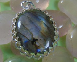 Natural labradorite jewellery designed pendent silver 45.55 cts