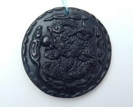 142.5ct New Design Natural Obsidian Craved Gragon Pendant (18071705)
