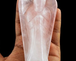 Genuine 1276.00 Cts Pink Rose Quartz Carved Healing Angel