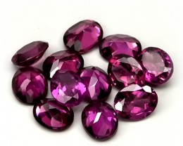 12 piece parcel of Rhodolite Garnet gems 5 x 4.00mm VVS