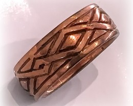 Size 5 Brand New Solid Copper Tribal Ring Band No Reserve