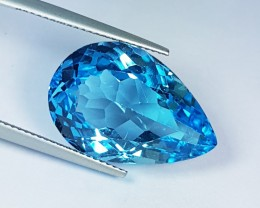 """22.31 ct """"IGI Certified""""  Awesome Pear Cut Natural Blue Topaz"""