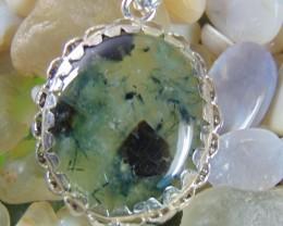 Naturalprehnite jewellery designed pendent silver 72.85 cts