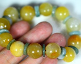238.0Ct Natural Grade A Yellow/Green Color Jadeite Jade Bracelet