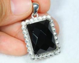 53.74ct Black Onyx Sterling Silver 925 Pendant