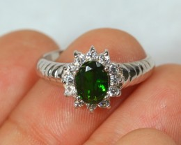 10.5ct Green Chrome Diopside 925 Silver Ring US 5.75