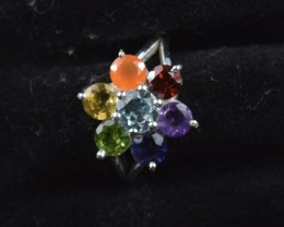 SEVEN CHAKRA GENUINE GEMSTONES AND STERLING SILVER RING JE417