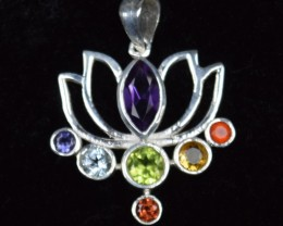 SEVEN CHAKRA GENUINE GEMSTONES  AND STERLING SILVER PENDANT JE418