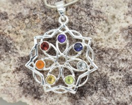 SEVEN CHAKRA GENUINE GEMSTONES AND STERLING SILVER PENDANT JE419