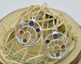 SEVEN CHAKRA GENUINE GEMSTONES  & STERLING SILVER EARRINGS JE420