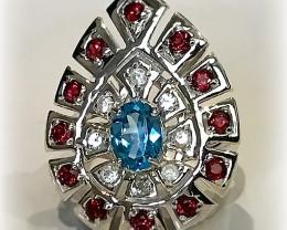 Stunning Blue Topaz Pink Rhodolite Garnet Sterling Silver Ring No reserve