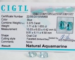 Certified CIGTL | 3.375 Ct| Museum Grade | Blue Aquamarine Pair