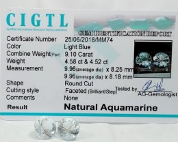 Certified CIGTL | 9.10 Ct| Museum Grade | Blue Aquamarine Pair