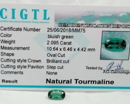 Certified|CIGTL~2.095 Cts Museum Grade Green color Tourmaline Gems