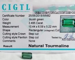 Certified|CIGTL~3.495 Cts Museum Grade Green color Tourmaline Gems