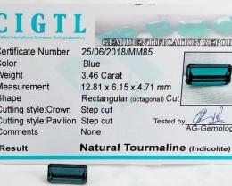 Certified|CIGTL~3.46 Cts Museum Grade Blue color Tourmaline Gems