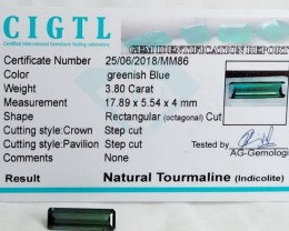 Certified|CIGTL~3.80 Cts Museum Grade Green color Tourmaline Gems