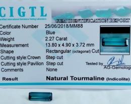 Certified|CIGTL~2.27 Cts Museum Grade Blue color Tourmaline Gems