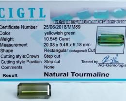 Certified|CIGTL~10.545 Cts Museum Grade Green color Tourmaline Gem