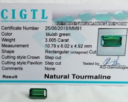 Certified|CIGTL~3.005 Cts Museum Grade Green color Tourmaline Gems